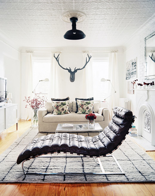 Eclectic trends combining living and working in a for Adams white chaise lounge