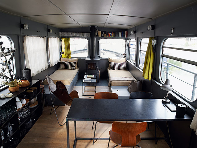 Dining room and living room area on houseboat