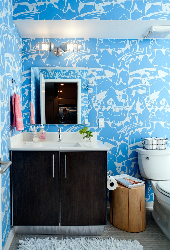 daleet spector design bathroom Eclectic Trends A colorful retro and loft in California