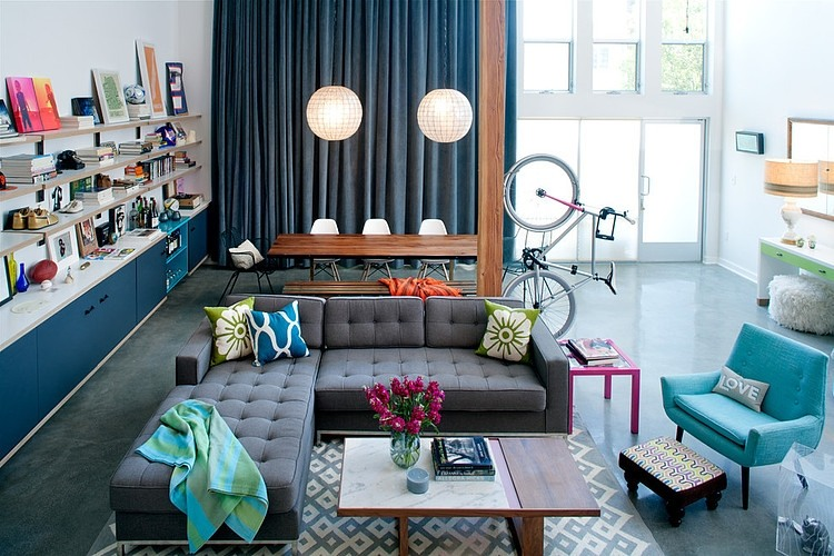 daleet spector design living2 Eclectic Trends A colorful retro and loft in California