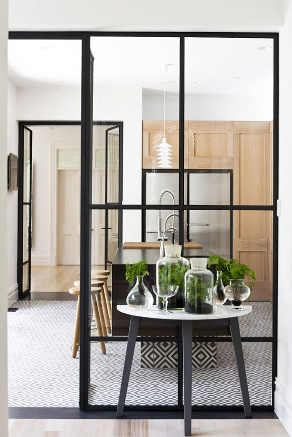 micro trend black metal framed windows kitchen