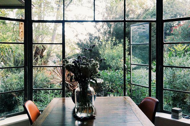 micro trend- black metal framed windows patio