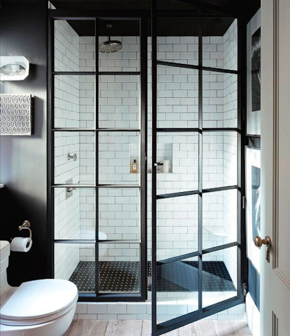 micro trend black metal framed windows shower